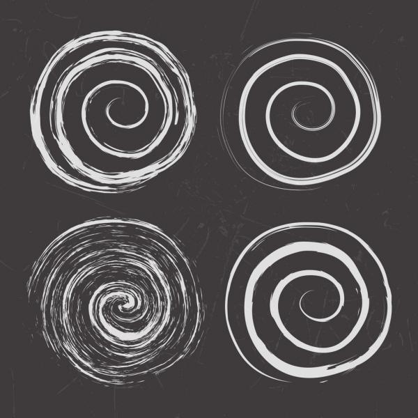 twisted circles background handdrawn black white design