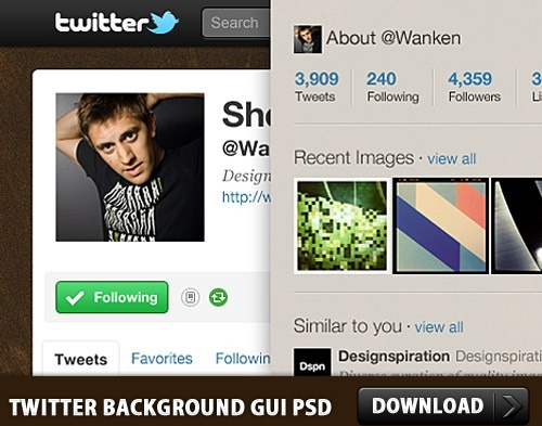 Twitter Background GUI Photoshop PSD