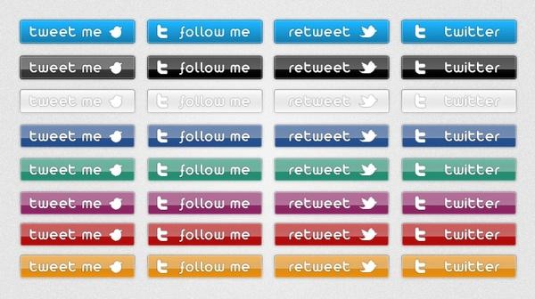 Twitter Buttons – Free PSD Buttons