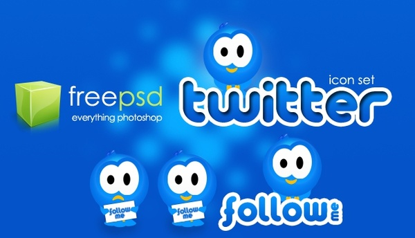 Twitter Icon Set – Free PSD Icons