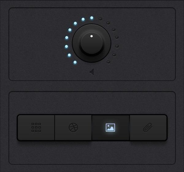 two the black tone ui design button knob
