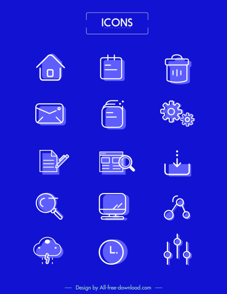 ui icons templates simple flat sketch