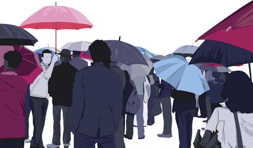 umbrella and people silhouettes design vector