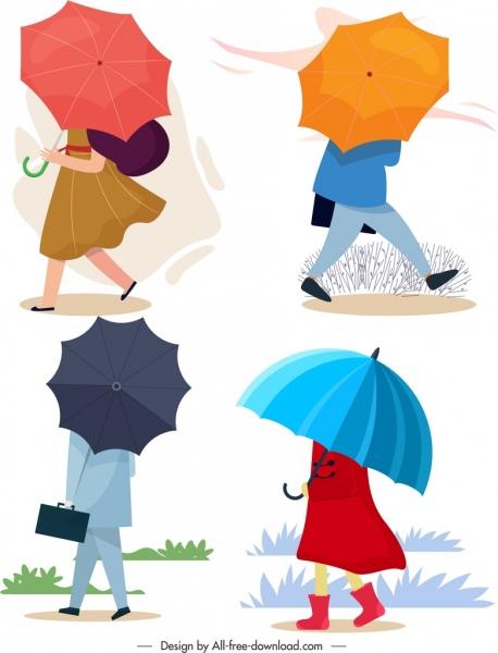 umbrella style icons colored cartoon sketch