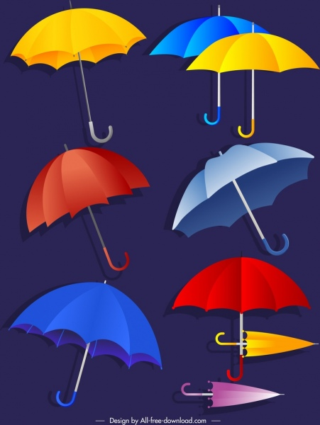umbrellas icons colorful shapes outline