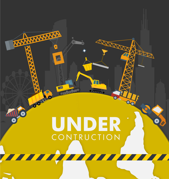 under construction poster with heavy equipment illustration