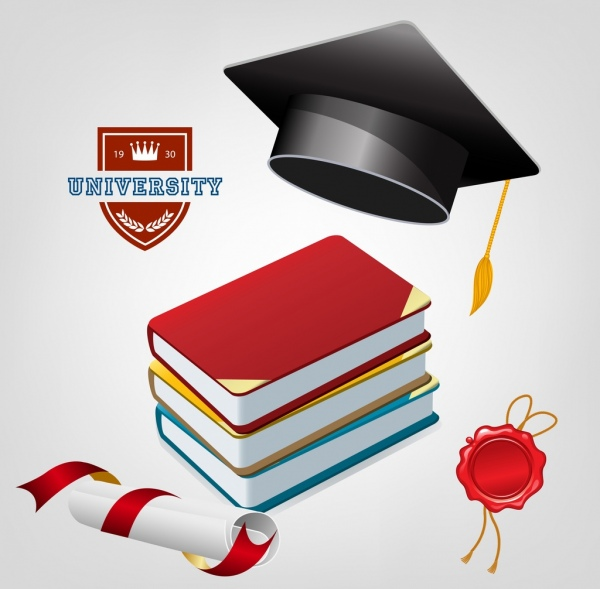 university banner colored 3d cap books diploma icons