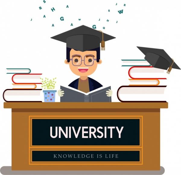 university education background boy book graduation icons