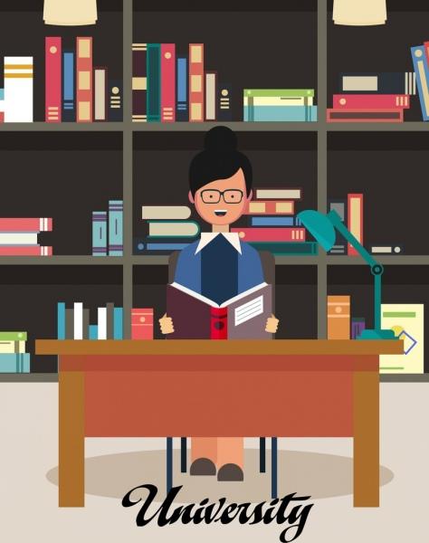 university library drawing woman bookshelf icon colored cartoon