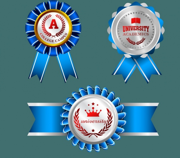 University Medal Templates Shiny Blue Red Decoration Free Vector 3 30mb