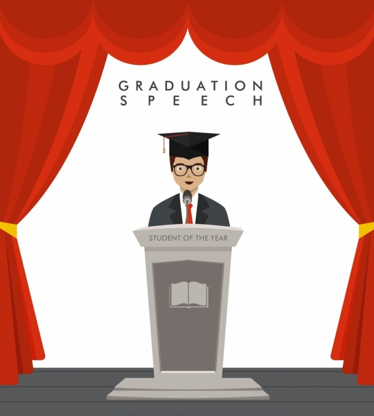 university speech background graduated student icon colored cartoon
