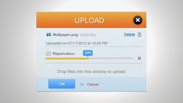 Upload Interface PSD
