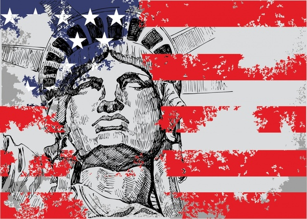 us statue of liberty background vector