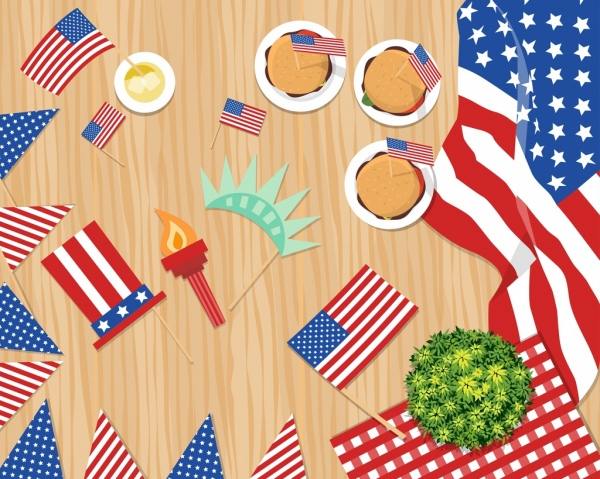 usa icons flags decorated objects colorful design