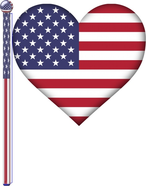 Usa Identity Symbol Illustration With Heart Flag Free Vector In Open