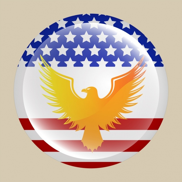 usa medal design yellow eagle icon shiny decoration