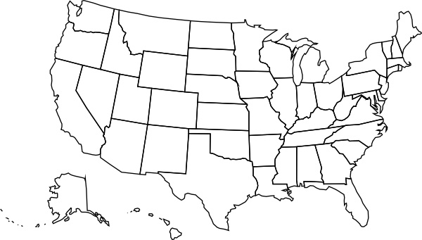 Usa Political Map clip art Free vector in Open office drawing svg ...