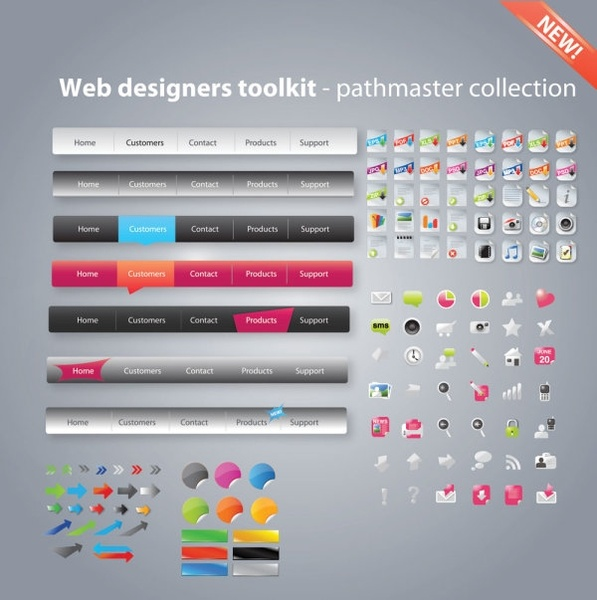 useful web design tools pack 02 vector