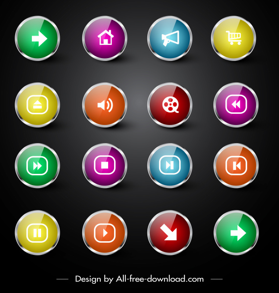 user interface icons collection modern shiny colorful circles