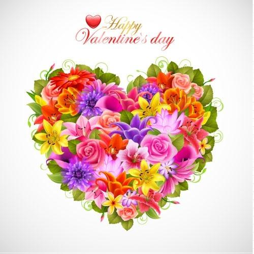 valentine39s day flowers background 02 vector