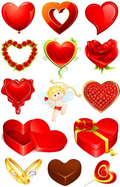 valentine39s day romantic elements 02 vector
