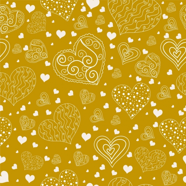 valentine backdrop hearts icons yellow flat handdrawn sketch