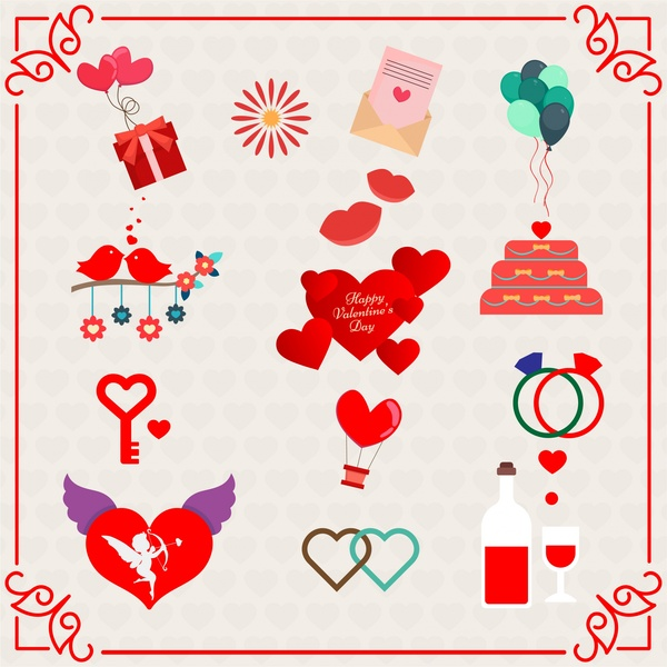 valentine background vector design with cute icons illustration