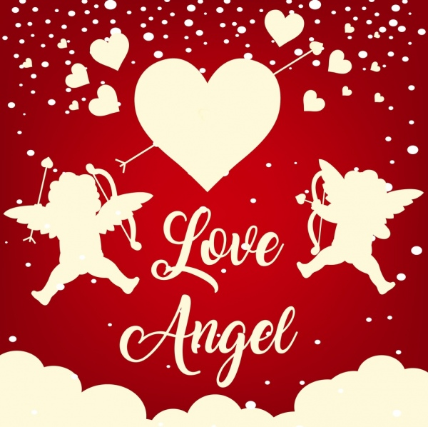 valentine banner angels hearts icons silhouette design