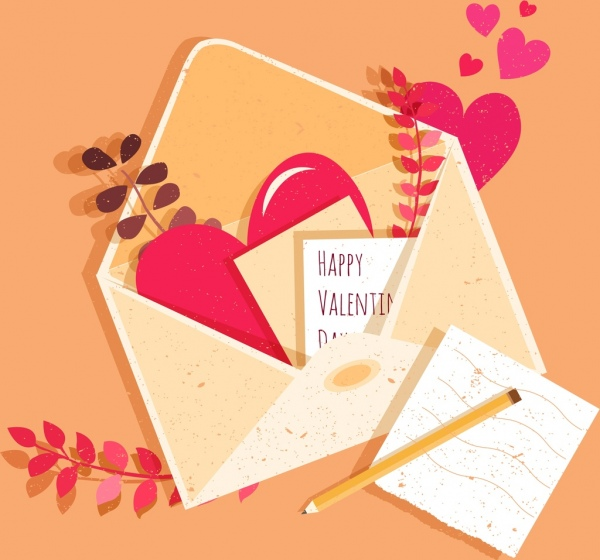 valentine banner card envelope hearts icons classical design