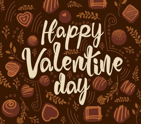 valentine banner chocolate candies icons decor