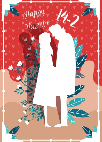 valentine banner couple leaves icon classical silhouette design