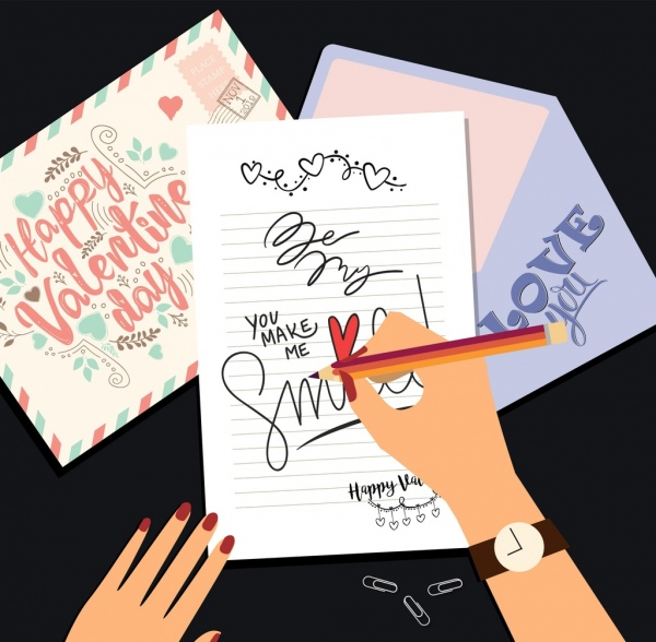 Valentine Banner Hands Writing Cards Icon Colored Cartoon Free Vector In Adobe Illustrator Ai Ai Format Encapsulated Postscript Eps Eps Format Format For Free Download 8 56mb