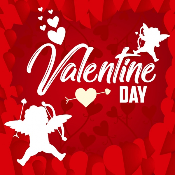 valentine banner red hearts decor angels icon