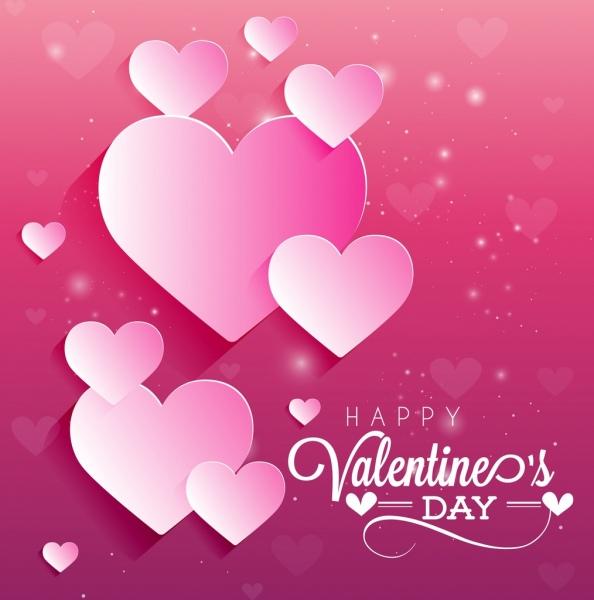 valentine banner sparkling pink design cut hearts decor