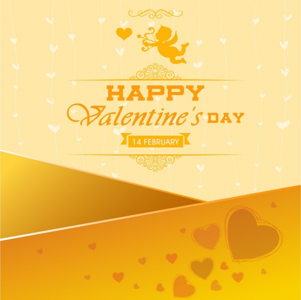 valentine banner yellow decor heart angel icons