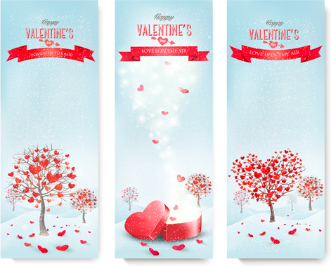 valentine banners with heart tree vector