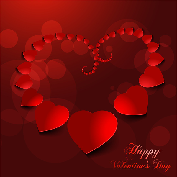 valentine card background with 3d red hearts decoration