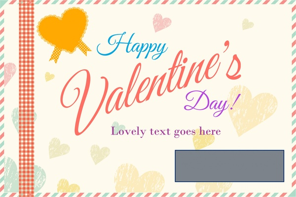 valentine card cover design on hearts vignette background