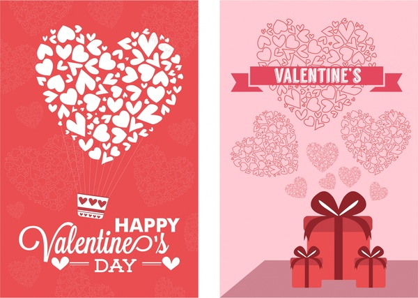 valentine card sets hearts decoration on red background