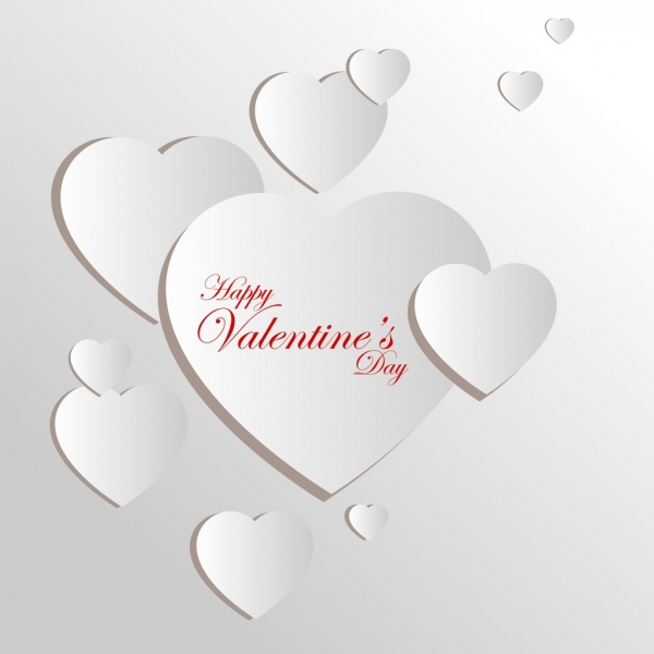 valentine card template 3d design white hearts ornament