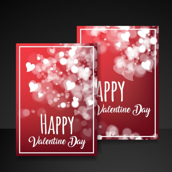 valentine card template bokeh hearts decor