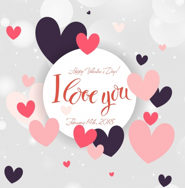 Valentine Card Template Floating Hearts Decoration Free Vector In