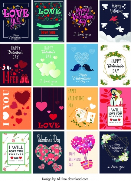 valentine card templates classical hearts flora couple decor