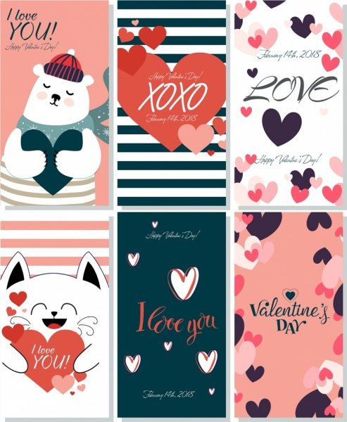 valentine cards collection cute decor hearts decoration