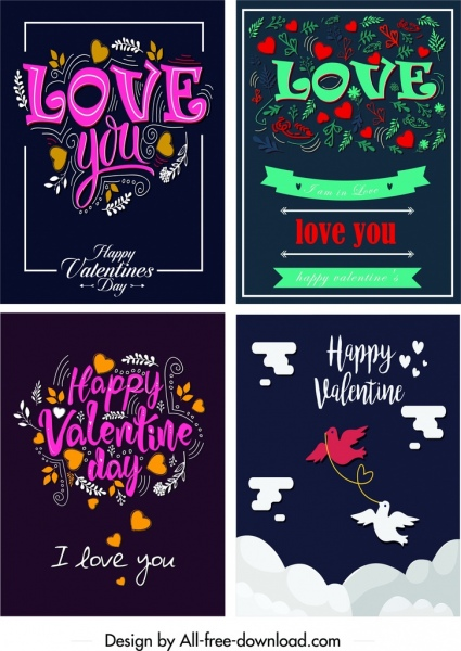 valentine cards templates colorful dark calligraphic hearts decor