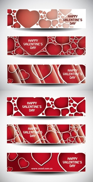 valentine day banner vector heart