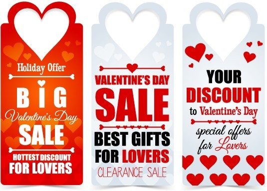 valentine day big sale tags vector