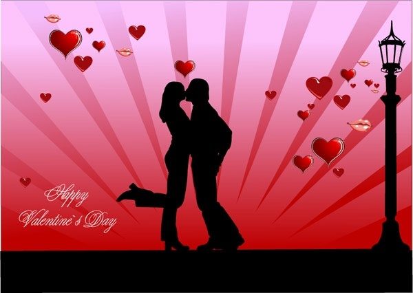Valentine Day Couples Kissing Vector Free Vector In Encapsulated