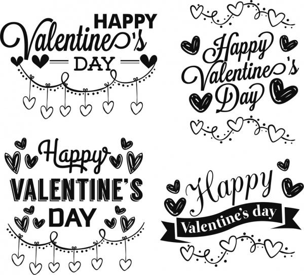 valentine day design elements romantic black white sketch