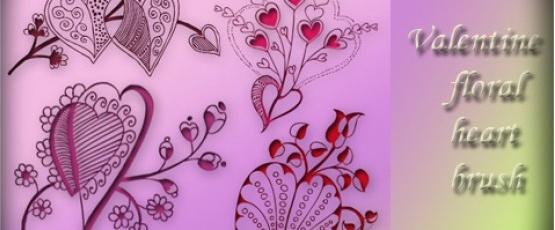 Valentine Floral Decorative Heart Brushes